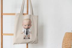 Сумка-шоппер с принтом Босс-молокосос (The Boss Baby) бежевая 005