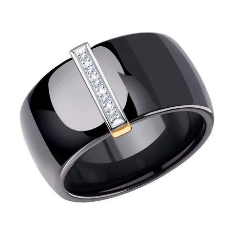 6015024 - Чёрное керамическое кольцо с золотом и бриллиантами