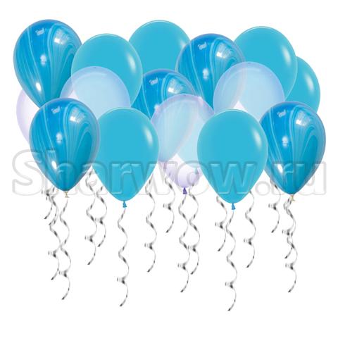Воздушные шары под потолок Яркое голубое ассорти