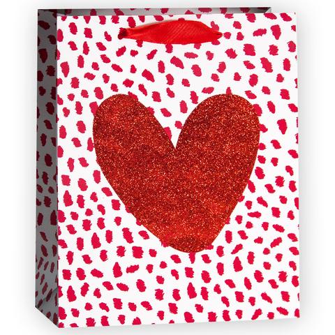 Пакет подарочный, Сердце, Красный, с блестками, 32*26*12 см