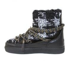 Высокие комбинированные кеды INUIKII Sneaker lady black на меху