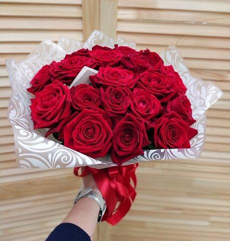 25 красных роз Рэд Наоми 40 см #14556
