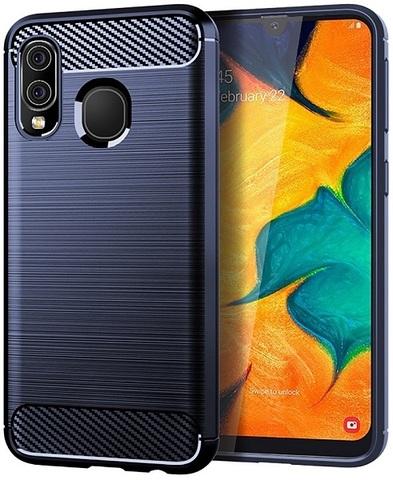 Чехол для Samsung Galaxy A40 цвет Blue (синий), серия Carbon от Caseport