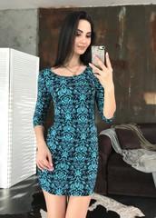 Гала. Молодежное облегающее платье мини. Сине-бирюзовый принт