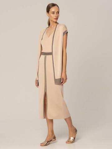 Женская юбка бежевого цвета из вискозы с разрезом и контрастной полосой - фото 4