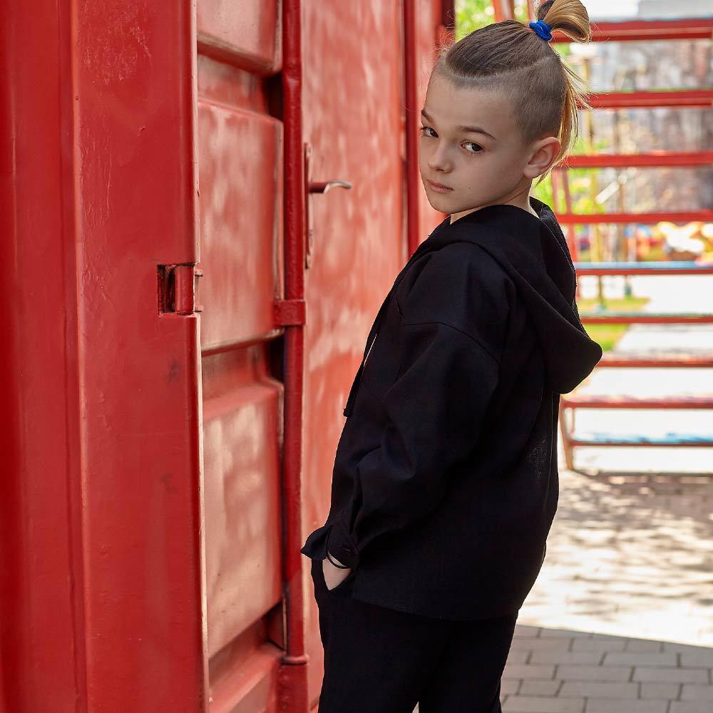 Дитячий костюм з льону для хлопчиків в чорному кольорі