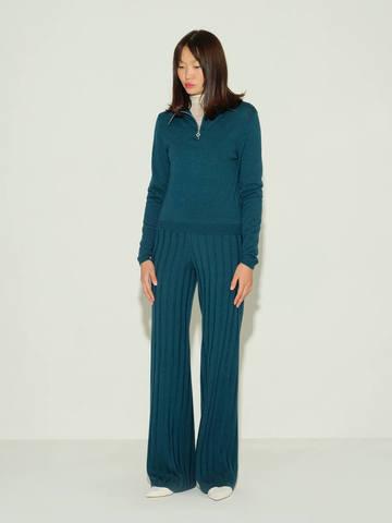 Женские брюки темно-изумрудного цвета из шерсти и шелка - фото 2