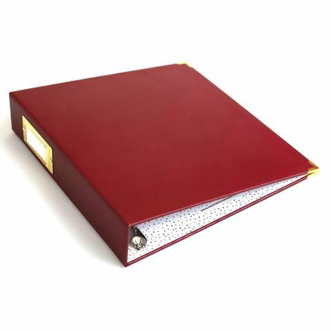 Папка на кольцах для фотографий Project Life 22х28 см - We R Paper Wrapped D-Ring Album- Бордовый Maroon