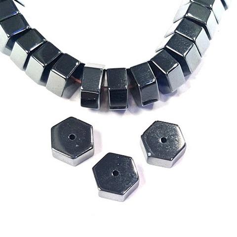 Бусины гематит шестигранник 9 х 4 мм черный 1 штука