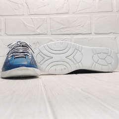 Голубые кроссовки туфли с белой подошвой женские летние sport casual Wollen P029-2096-24 Blue White.