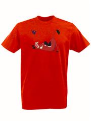 Футболка с принтом мультфильма Король лев (The Lion King, Пумба) красная 0015