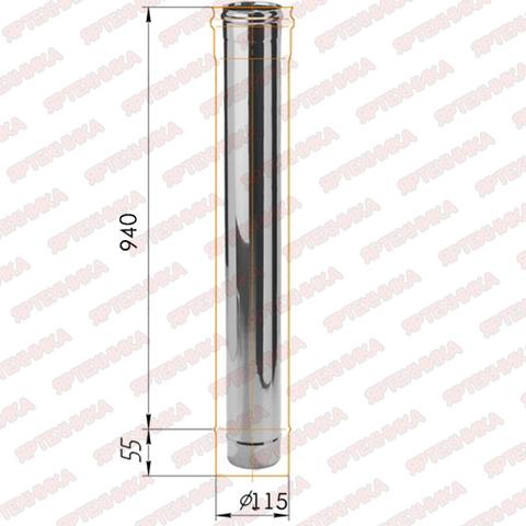 Труба моно 1,0м d115мм (430/0,5мм) Ferrum