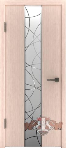 Дверь 16ДО5 зеркало (беленый дуб, остекленная шпонированная), фабрика Владимирская фабрика дверей