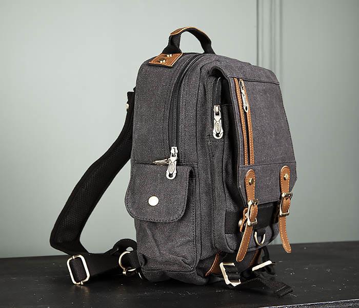 BAG394-1 Черный компактный рюкзак с одной лямкой через плечо фото 03