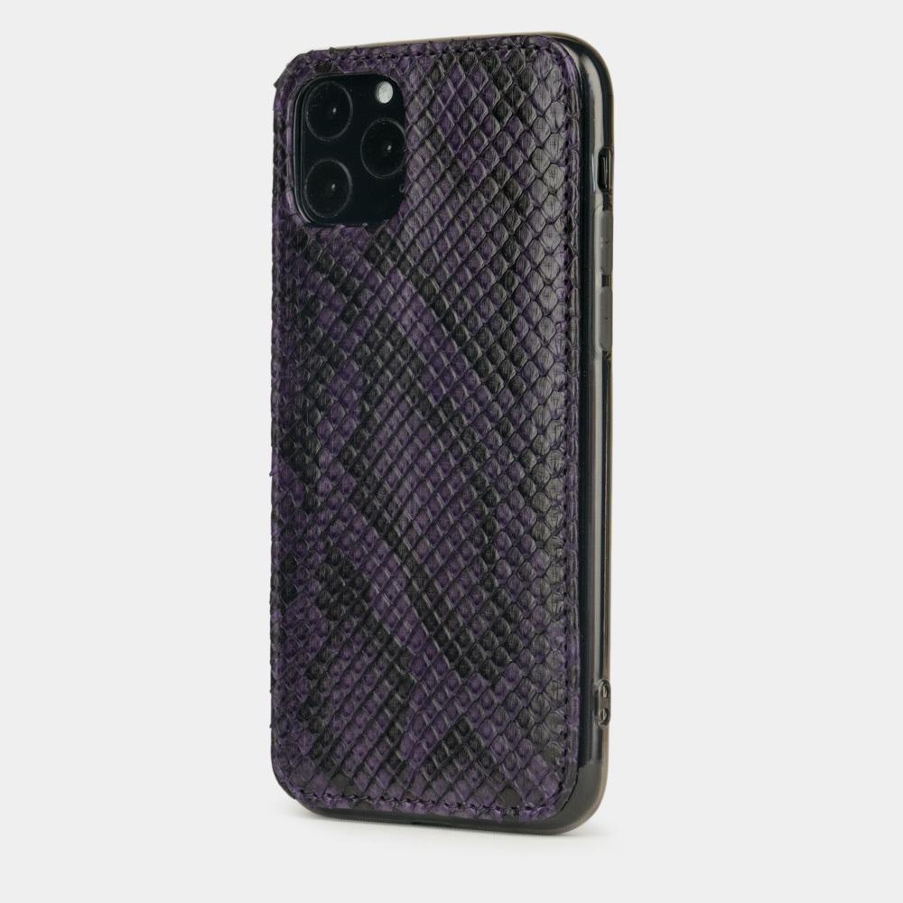 Чехол-накладка для iPhone 11 Pro Max из натуральной кожи питона, фиолетового цвета