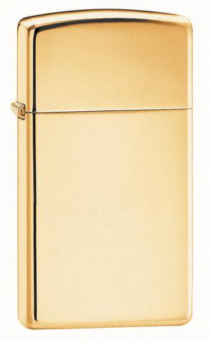 Зажигалка Zippo Slim High Polish Brass, латунь/сталь, золотистая, глянцевая, 30x10x55 мм