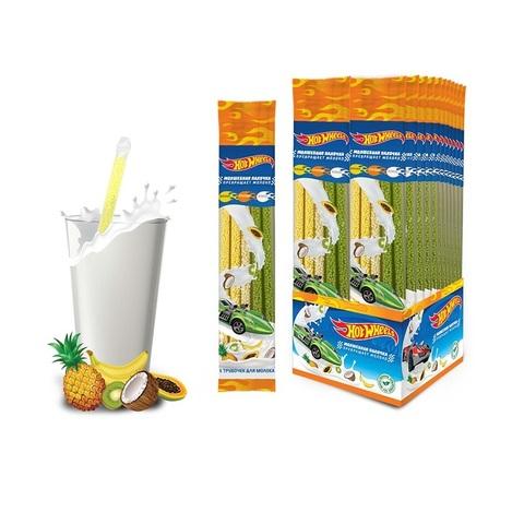 HOT WHEELS трубочки для молока 5шт. (кокос, тропик, банан), 1кор*6бл*24 шт. 30гр