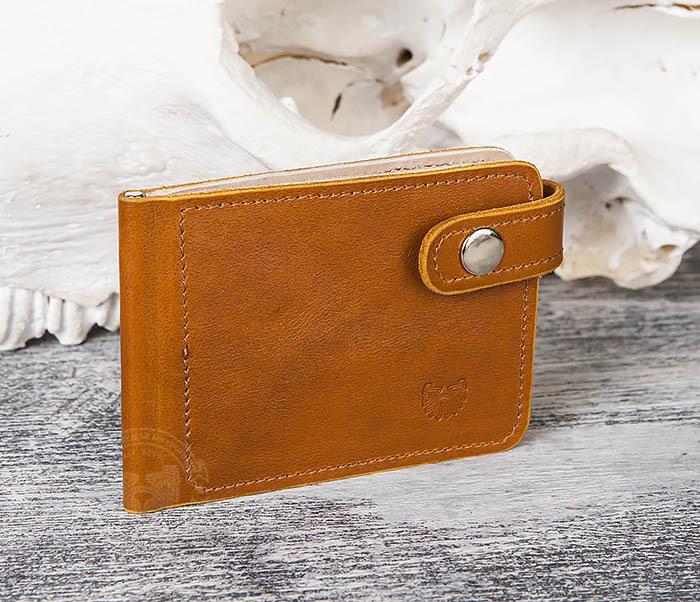WB115-4 Кожаный зажим для денег ручной работы с застежкой