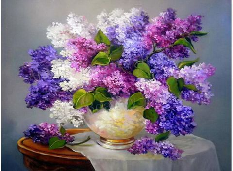 Алмазная Мозаика 50x65 Разноцветная сирень в белой круглой вазе