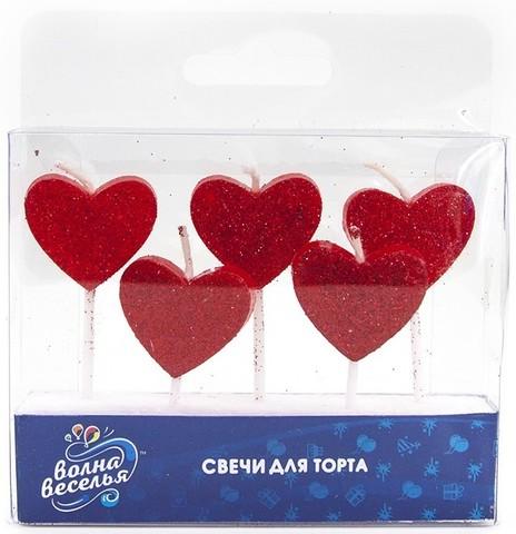 Свечи Сердце, Красный, с блестками, 7 см, 5 шт.