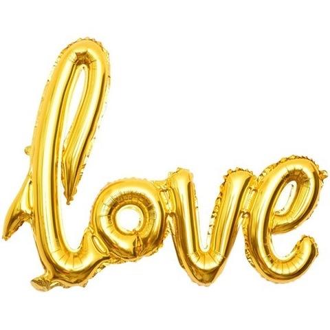 Фольгированный воздушный шар - надпись love золотая