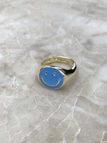 Кольцо Эмодзи из серебра с голубой эмалью