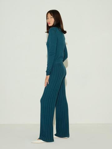 Женские брюки темно-изумрудного цвета из шерсти и шелка - фото 4