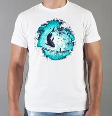 Футболка с принтом Кит (Море, Океан, волны) белая 0012