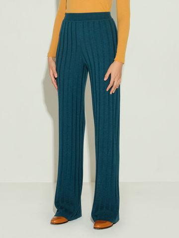 Женские брюки темно-изумрудного цвета из шерсти и шелка - фото 3