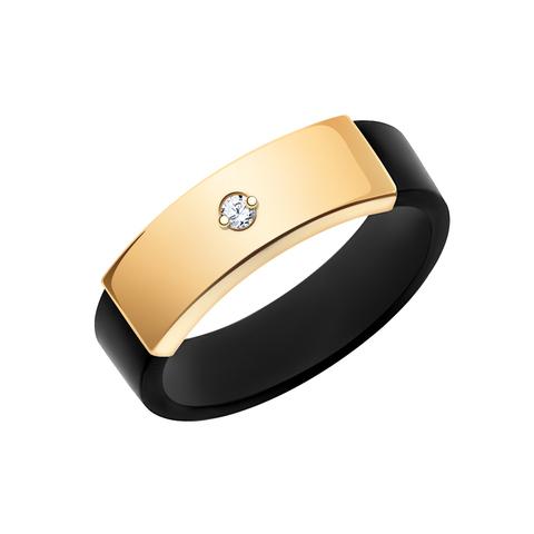 10670К -Кольцо из красного золота с каучуком и фианитом