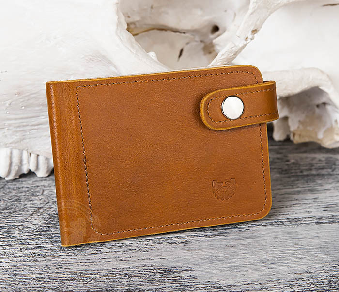 WB115-4 Кожаный зажим для денег ручной работы с застежкой фото 02