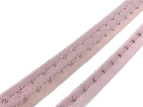 Крючки на ленте двухрядные пыльно-розовые (цв. 019)