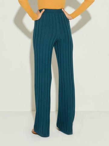 Женские брюки темно-изумрудного цвета из шерсти и шелка - фото 5