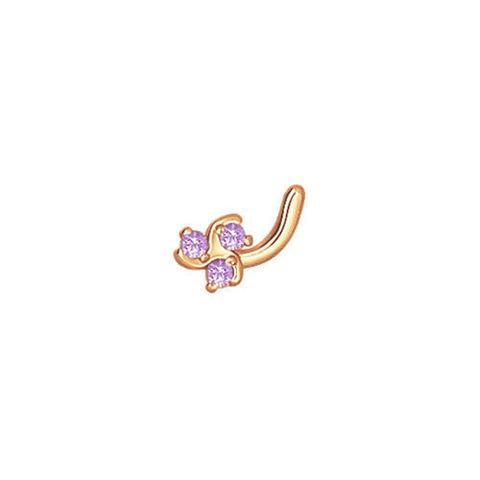 060107- Пирсинг для носа из золота с фианитом три камушка