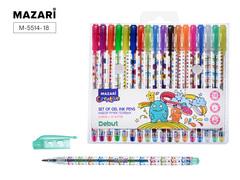 Mazari Debut набор гелевых ручек с блестками 0.8 мм - 18 цветов
