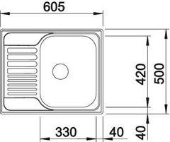 Мойка Blanco Tipo 45S Mini нерж. сталь Декор - схема