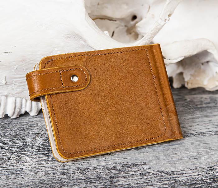 WB115-4 Кожаный зажим для денег ручной работы с застежкой фото 03