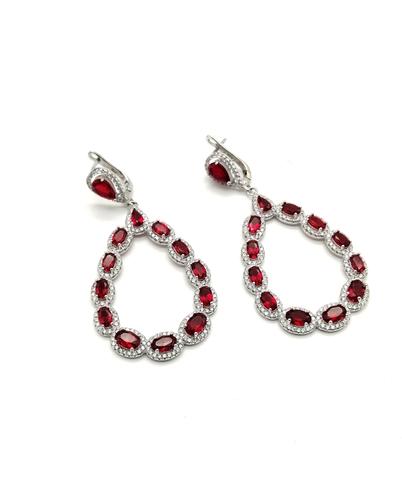 49702- Серьги из серебра с овальными подвесками с рубиновым кварцем