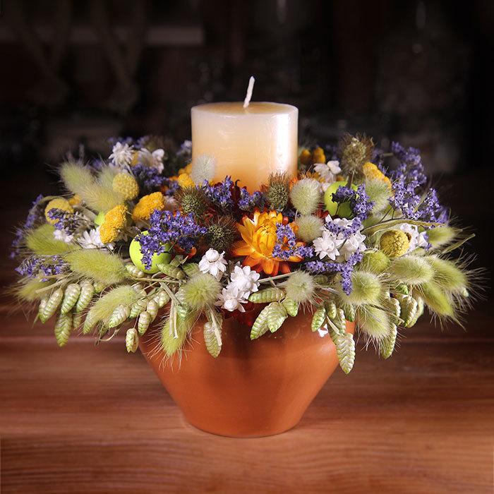 Декор интерьерная композиция со свечой и сухоцветами колосья купить в Перми