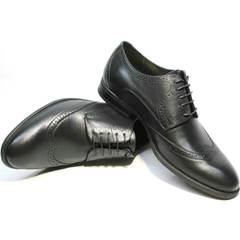 Модные черные туфли мужские дерби Ikos 1157-1 Classic Black.