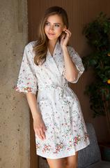 Халат белый Daisy 16313 с цветочным принтом Mia-Mia