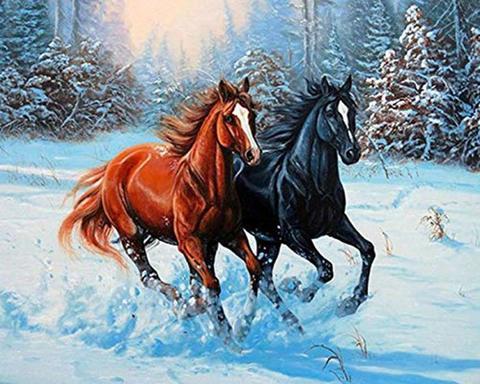 Алмазная Мозаика 50x65 Забег двух лошадей зимой