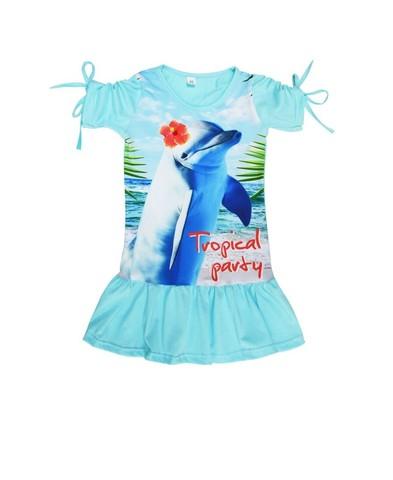 Платье с дельфином детское трикотажное