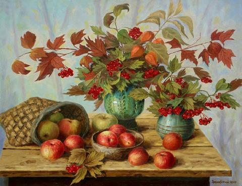Картина раскраска по номерам 40x50 Натюрморт с рябиной и яблоками (арт. E935)