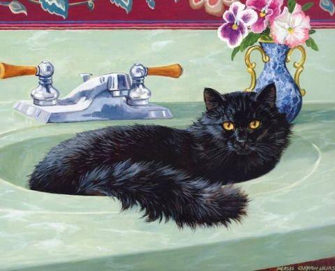 Алмазная Мозаика 40x50 Черная кошка в раковине (арт. 2PAV749)