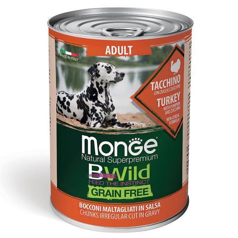 Monge Dog BWild Grain Free Консервы для взрослых собак всех пород из индейки с тыквой и кабачками, беззерновые (банка)