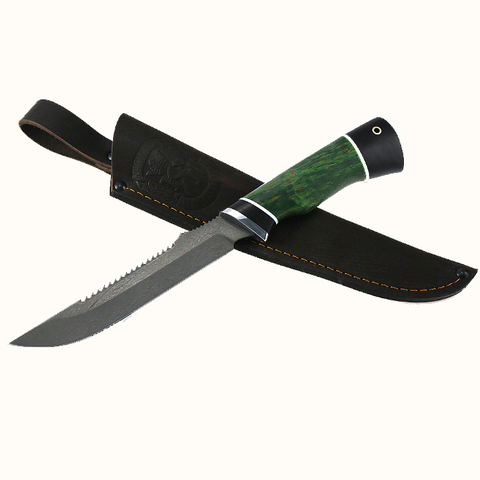 Нож Рыбак 2 х12мф черный граб стабилизированная карельская береза (зеленая)