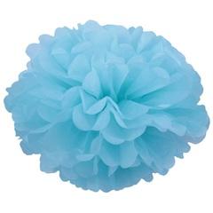 Помпон из бумаги 30 см, голубой