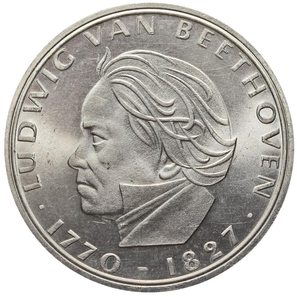 5 марок 1970 (F) Германия (200 лет со дня рождения Людвига ван Бетховена) AU серебро