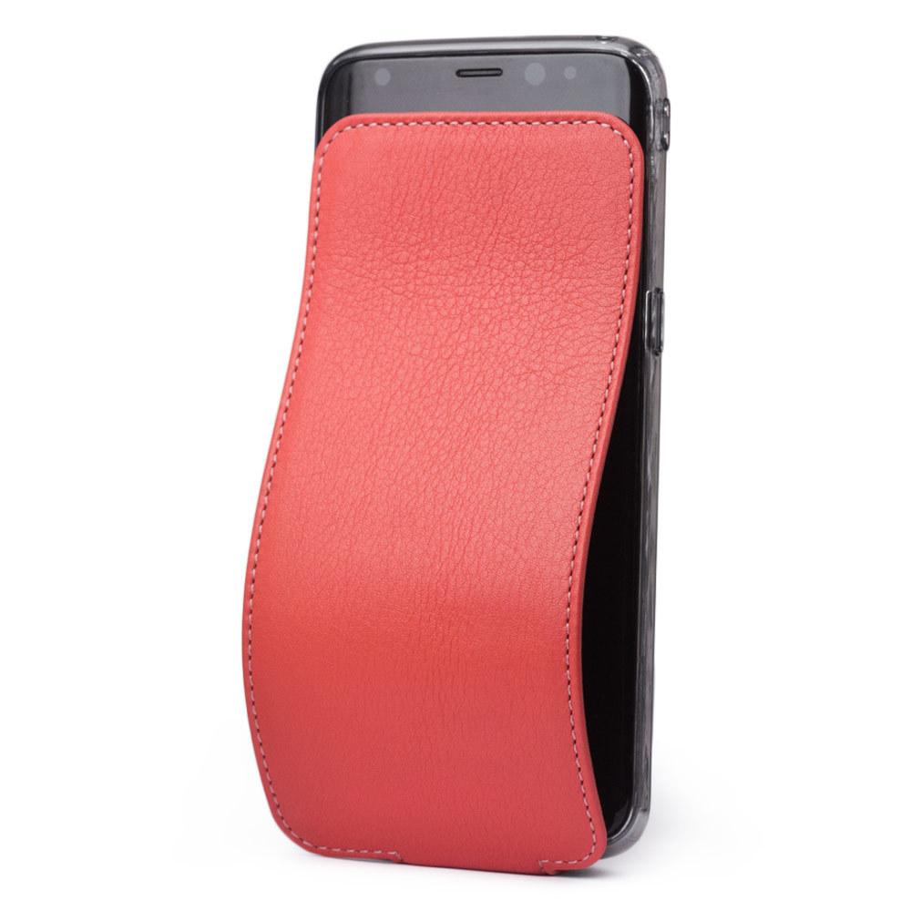 Чехол для Samsung Galaxy S8 из натуральной кожи теленка, кораллового цвета